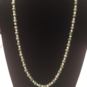 Green strand Pearl and Bead necklace